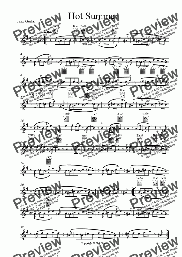 page one of the Jazz Guitar part from Hot Summer
