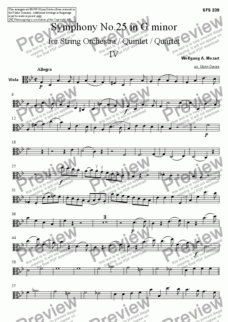 page one of the Viola part from Symphony No.25 - 4. Allegro
