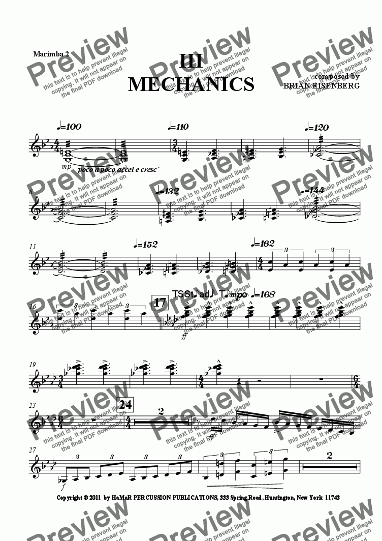 page one of the Marimba 2 part from III MECHANICS