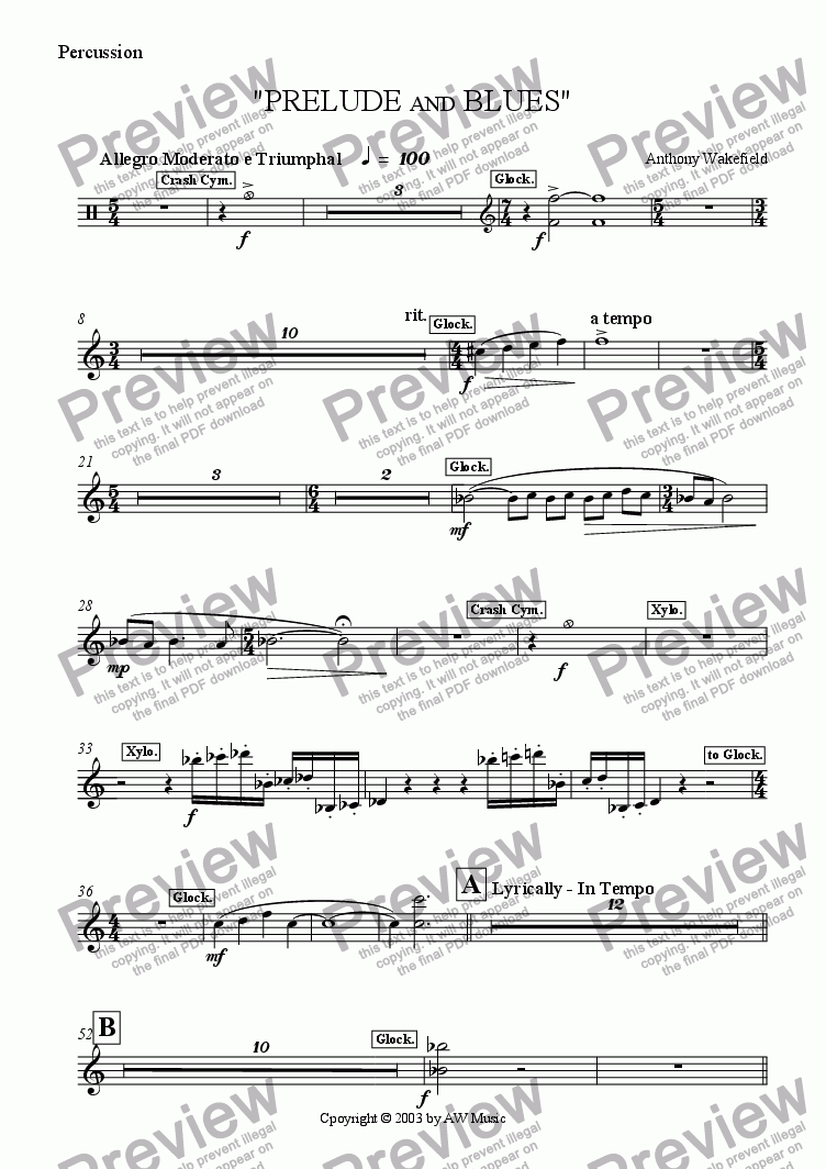 page one of the Percussion part from Prelude and Blues (Euphonium & Brass Band)
