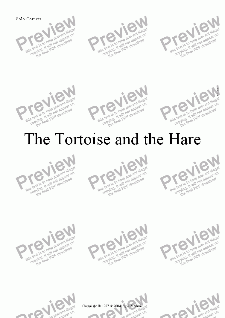 page one of the Solo Cornet part from The Tortoise and the Hare