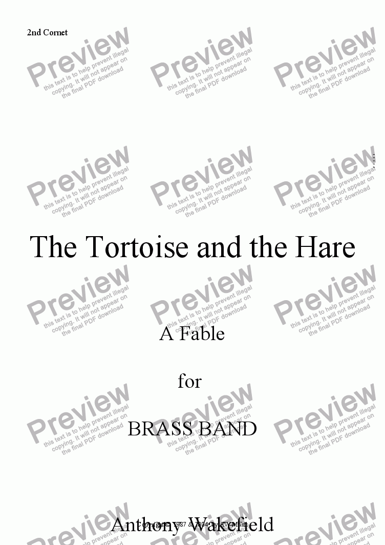 page one of the 2nd Cornet part from The Tortoise and the Hare