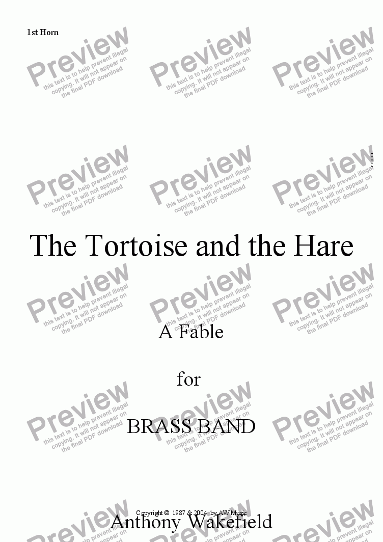 page one of the 1st Horn part from The Tortoise and the Hare