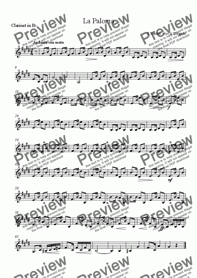 page one of the Clarinet in B^b part from La Paloma