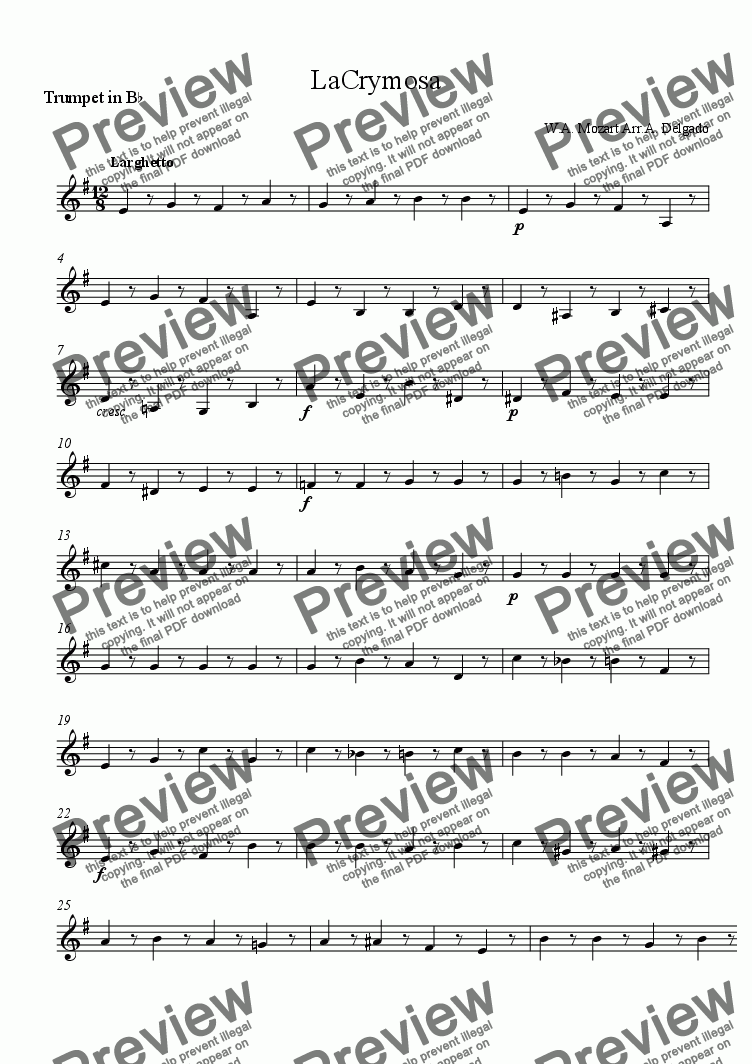 page one of the Trumpet in B^b part from LaCrymosa