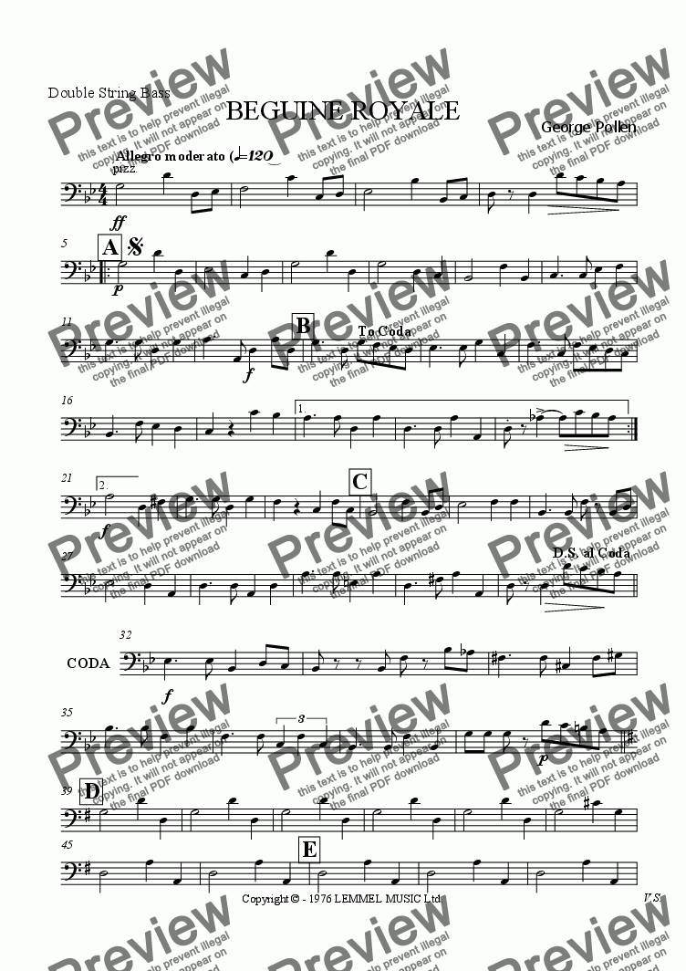 page one of the Double Bass part from Beguine Royale