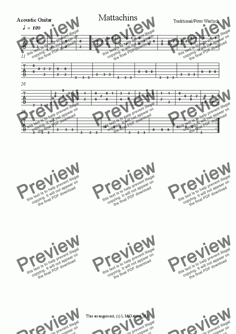 page one of the Acoustic Guitar 1 - TAB part from Mattachins - Guitar Duet (with optional Oboe)