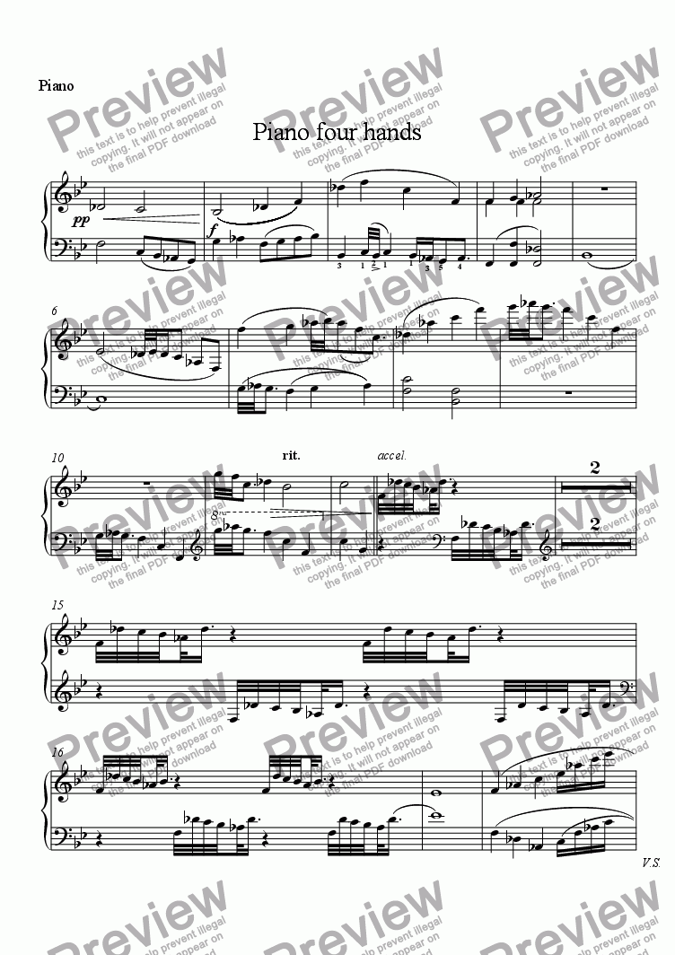 page one of the Piano part from Piano four hands