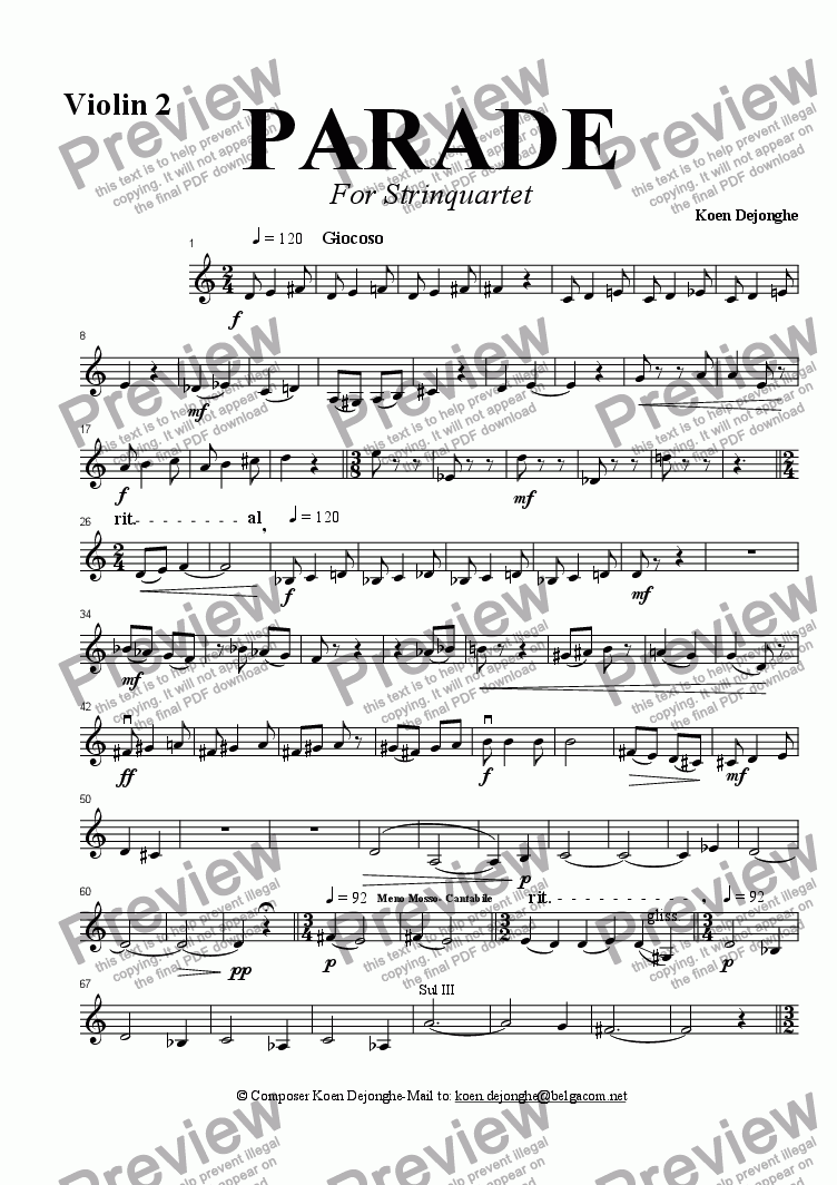 "page one of the Violin 2 part from ""Parade For String Quartet"""