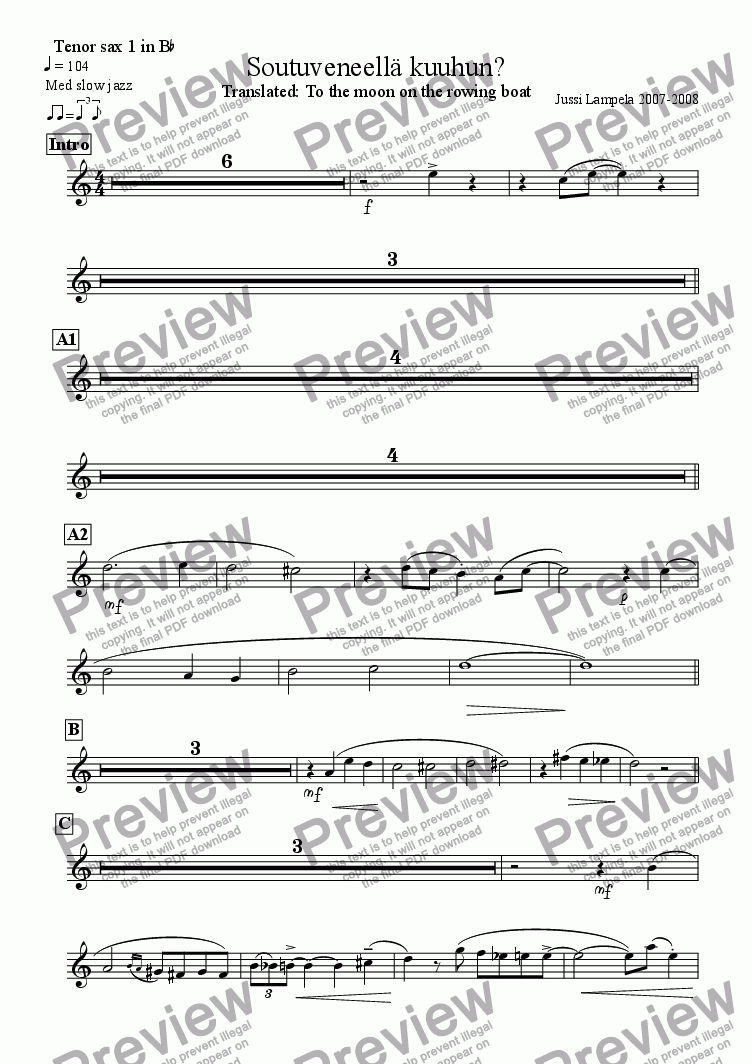 page one of the Tenor sax 1 in B^b part from Soutuveneellä kuuhun?