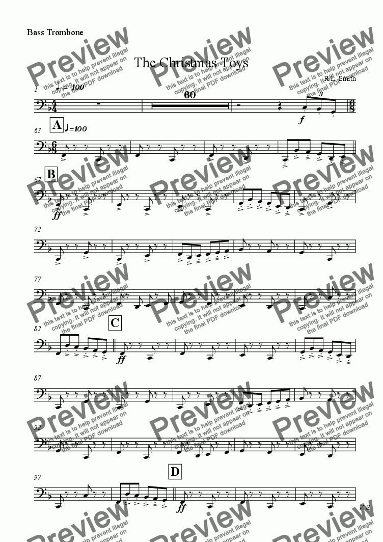 page one of the Bass Trombone part from The Christmas Toys