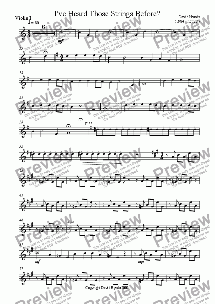 page one of the Violin 1 part from I've Heard Those Strings Before?