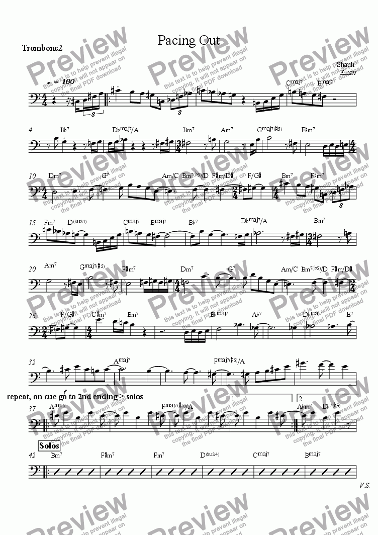 page one of the Trombone part from Pacing Out