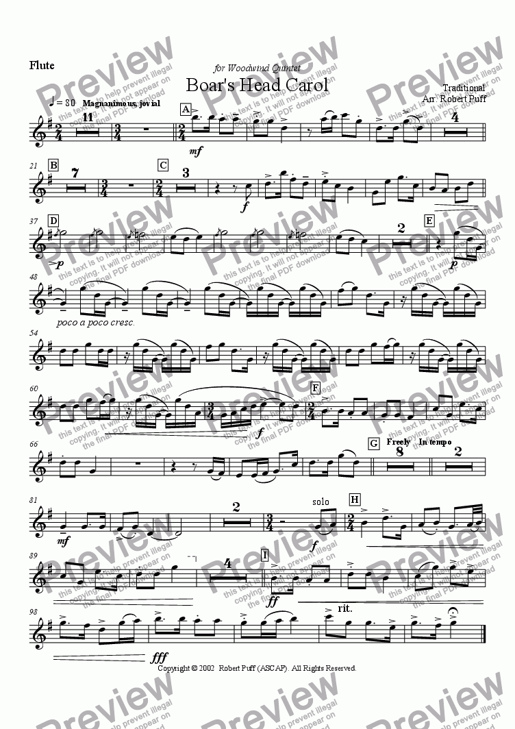 page one of the flute part from Boar's Head Carol (woodwind quintet)
