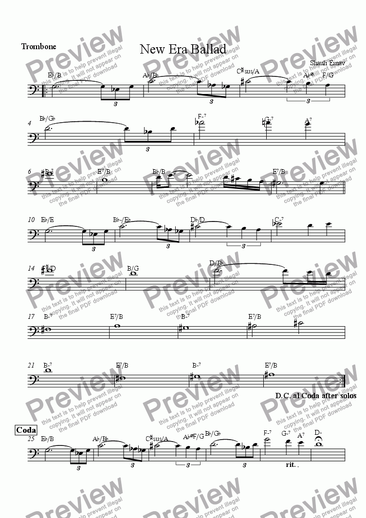 page one of the Trombone part from New Era Ballad