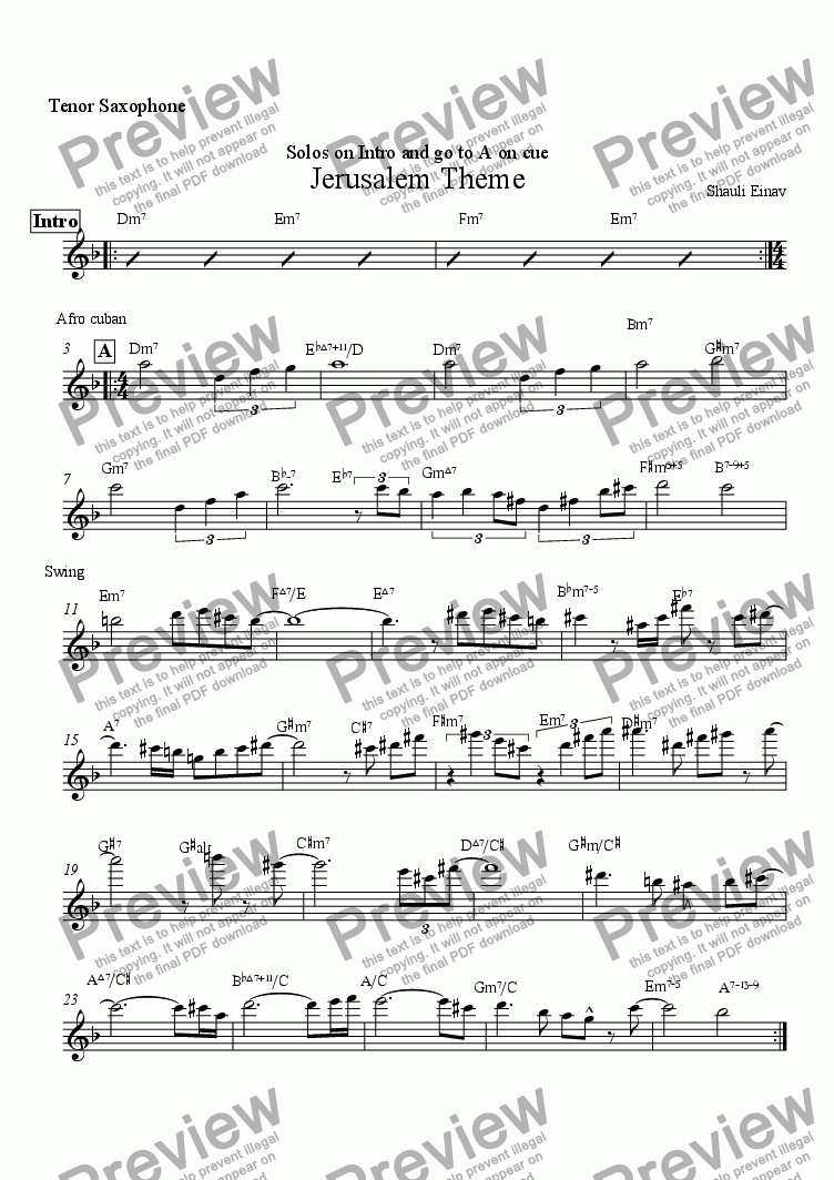 page one of the Tenor Saxophone part from Jerusalem Theme