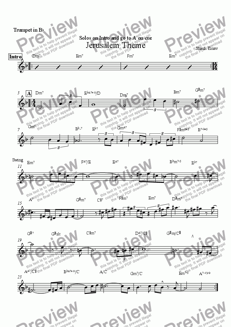 page one of the Trumpet in B^b part from Jerusalem Theme
