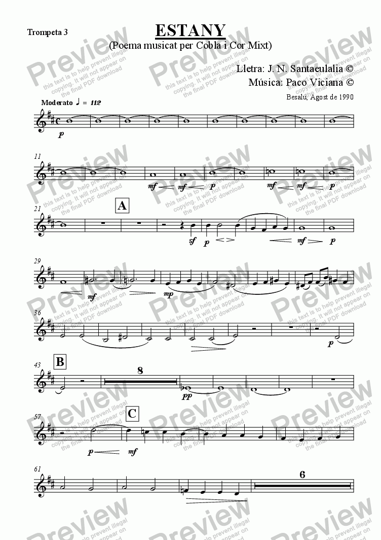 page one of the Trompeta 3 part from 031-Estany (cobla version) (catalan)