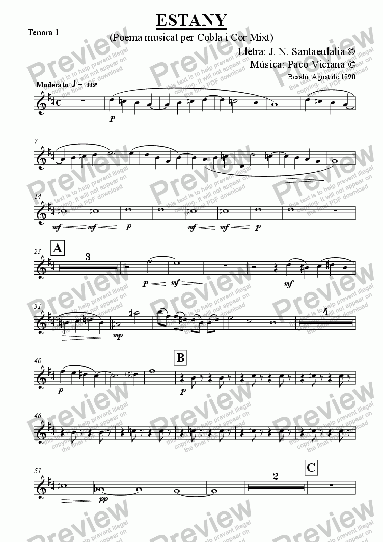 page one of the Tenora 1 part from 031-Estany (cobla version) (catalan)