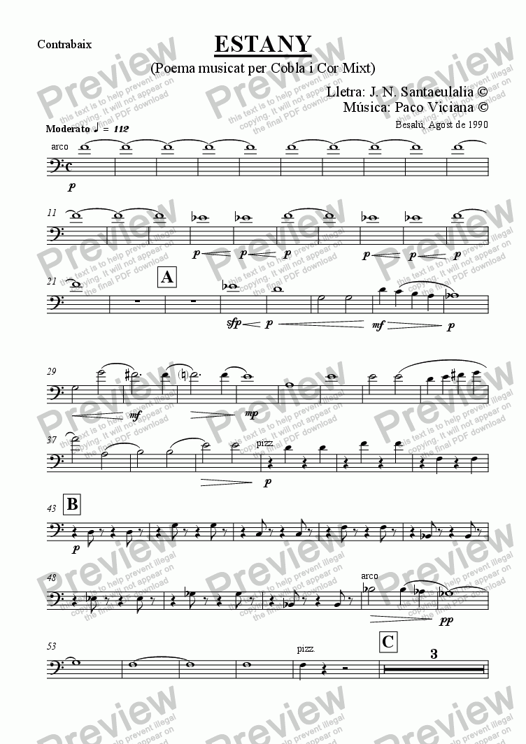 page one of the Contrabaix part from 031-Estany (cobla version) (catalan)