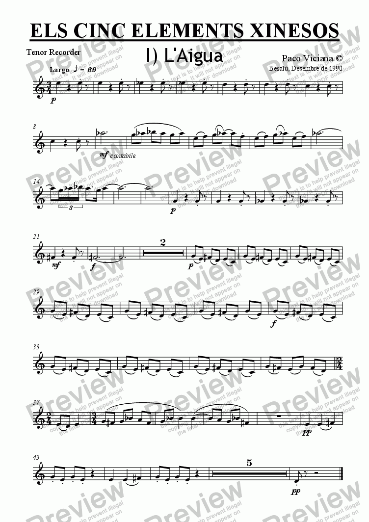 page one of the Tenor Recorder part from 032-Els cinc elements xinesos (Recorders quartet version)