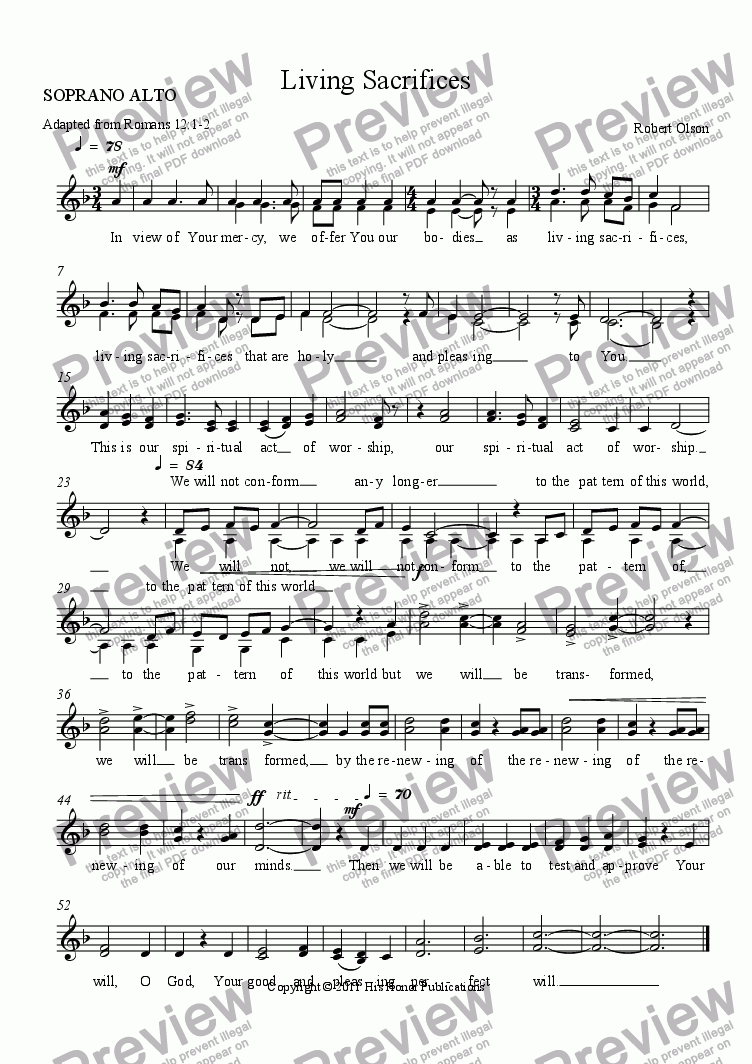 page one of the SOPRANO ALTO part from Living Sacrifices