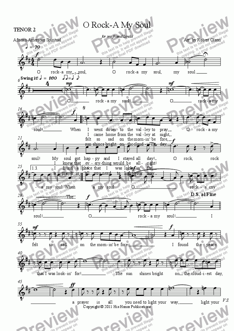 page one of the TENOR 2 part from O Rock-A My Soul (TTBB)