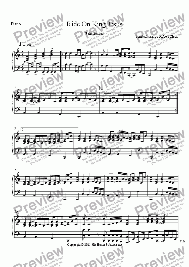 page one of the Piano part from Ride On King Jesus (Palm Sunday)