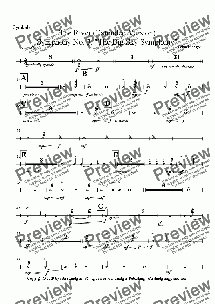 "page one of the Cymbals part from The River (Extended Version) Symphony No. 3, ""The Big Sky Symphony"""