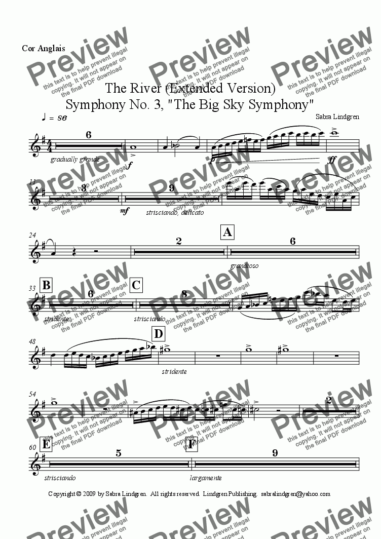 "page one of the Cor Anglais part from The River (Extended Version) Symphony No. 3, ""The Big Sky Symphony"""