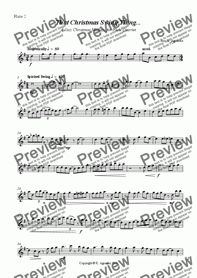 page one of the Flute 2 part from That Christmas Swing Thing - Christmas Medley for Flute Quartet