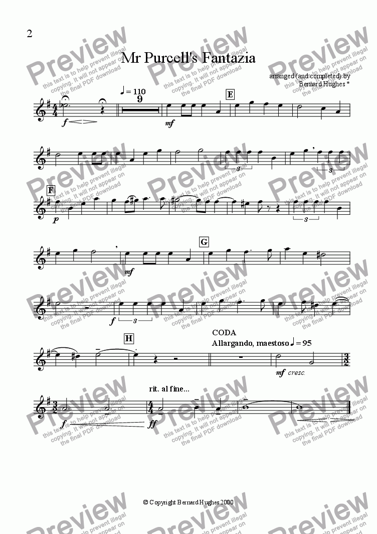 page one of the Alto Sax 1 part from Mr. Purcell's Fantazia