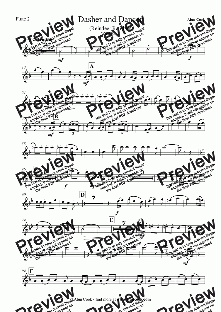 page one of the Flute 2 part from Dasher and Dancer (Reindeer Ramble) (Wind Band)