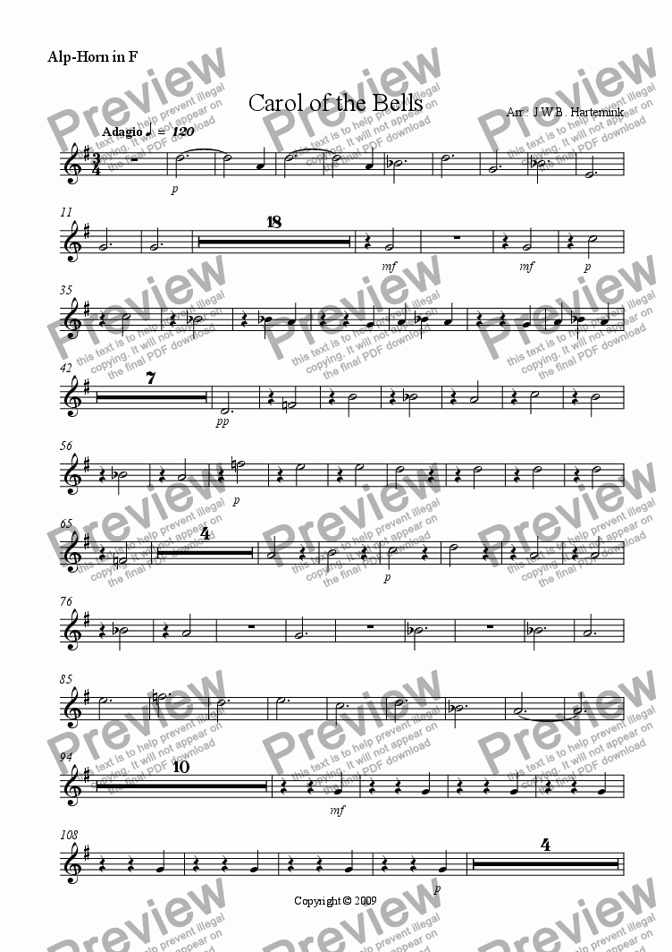 page one of the Alp-Horn in F part from Carol of the Bells