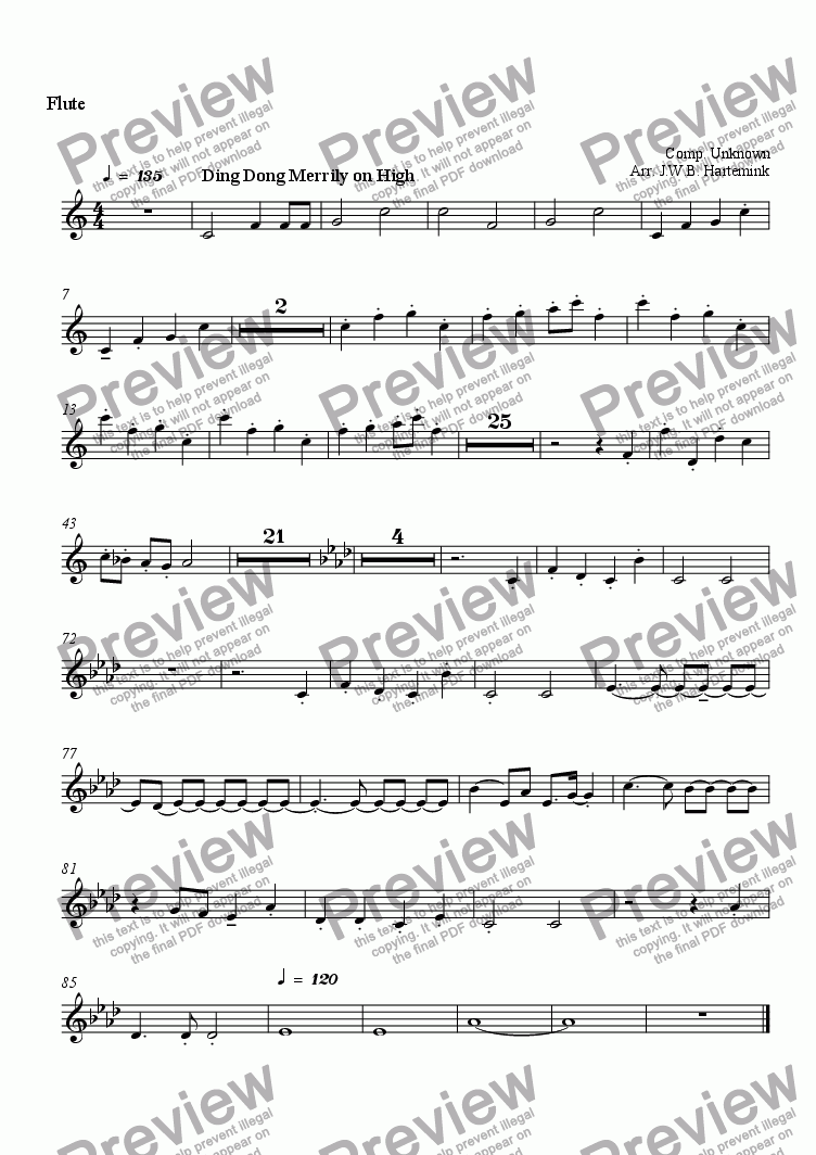 page one of the Flute part from Ding Dong Merrily on High