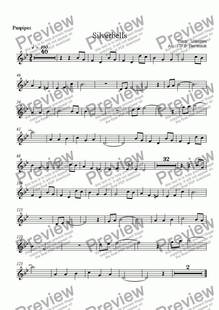 page one of the Panpipes part from Silverbells