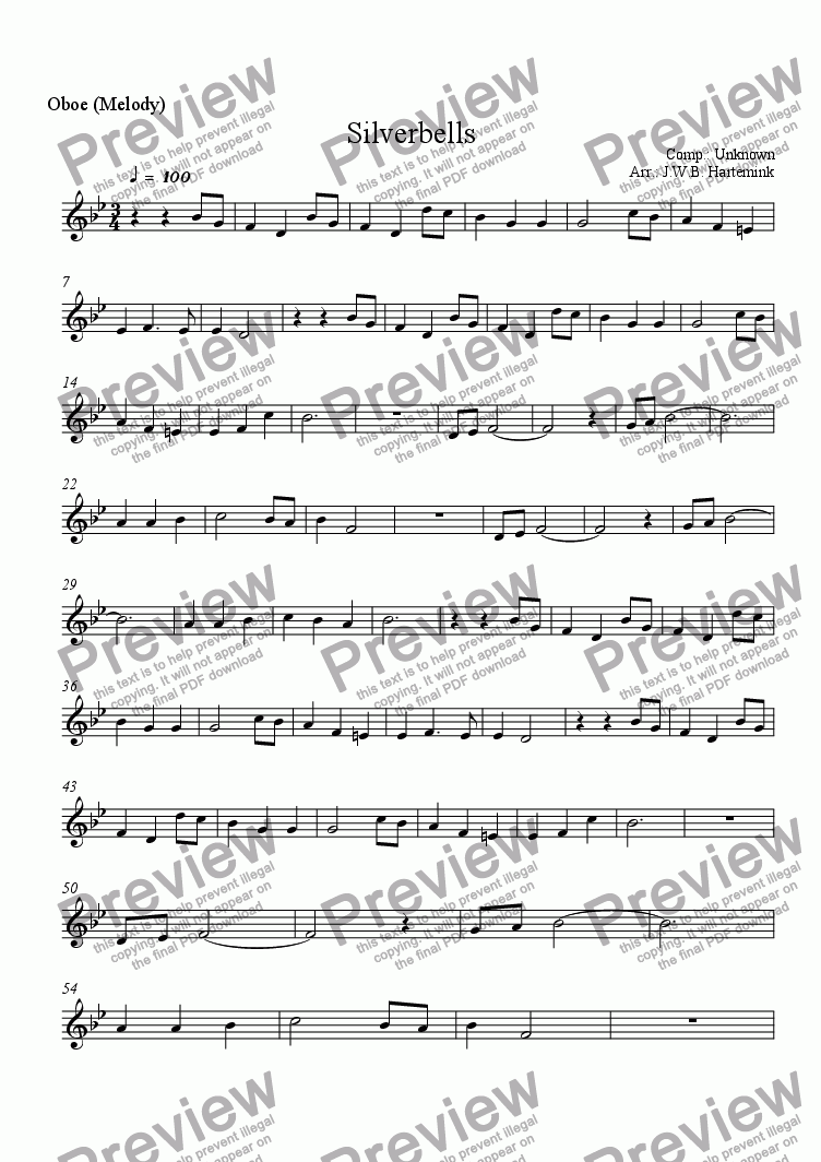 page one of the Oboe (Melody) part from Silverbells