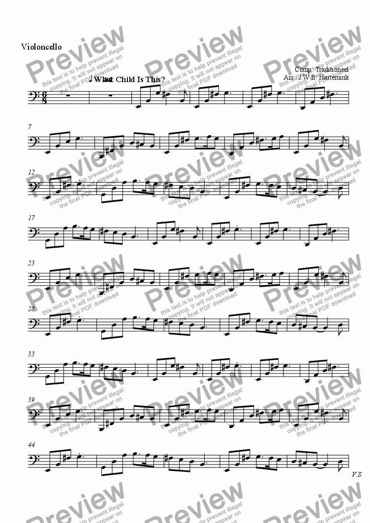 page one of the Violoncello part from What Child is this