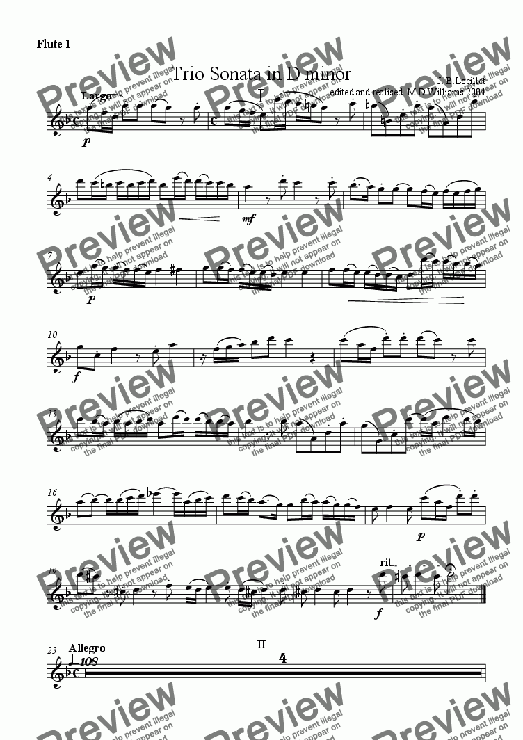 page one of the Flute 1 part from Loeillet:Trio Sonata in D minor