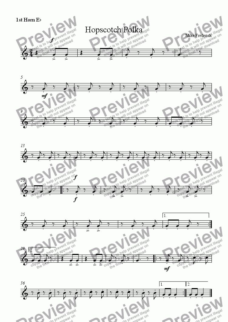 page one of the 1st Horn E^b part from Hopscotch Polka  ( feature your 1st Cornets)