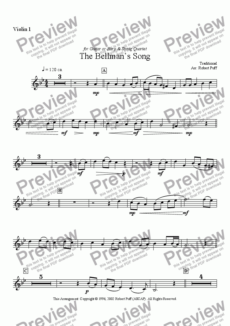 page one of the violin 1 part from Bellman's Song, The (string quartet + guitar or harp)