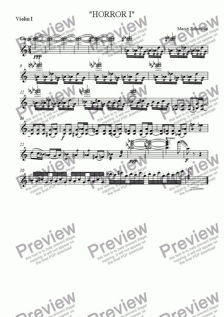 "page one of the Violin I part from ""HORROR I"""