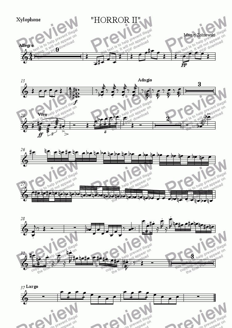 "page one of the Xylophone part from ""HORROR II"""
