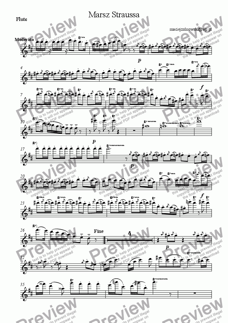 page one of the Flute part from Marsz Straussa