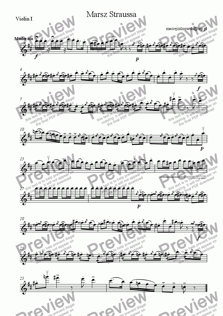 page one of the Violin I part from Marsz Straussa