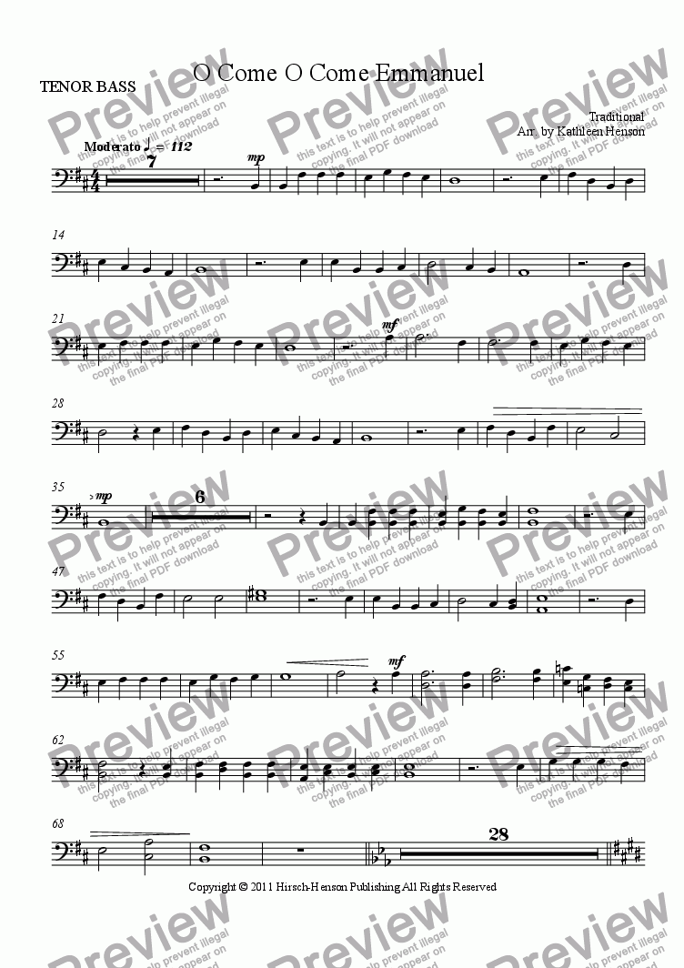 page one of the TENOR BASS part from O Come O Come Emmanuel for SATB Choir with Piano and opt. Flute