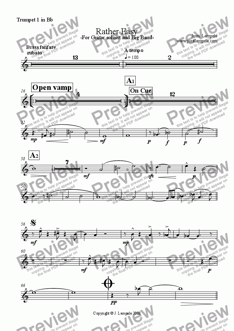 page one of the Trumpet 1 in Bb part from Rather Easy