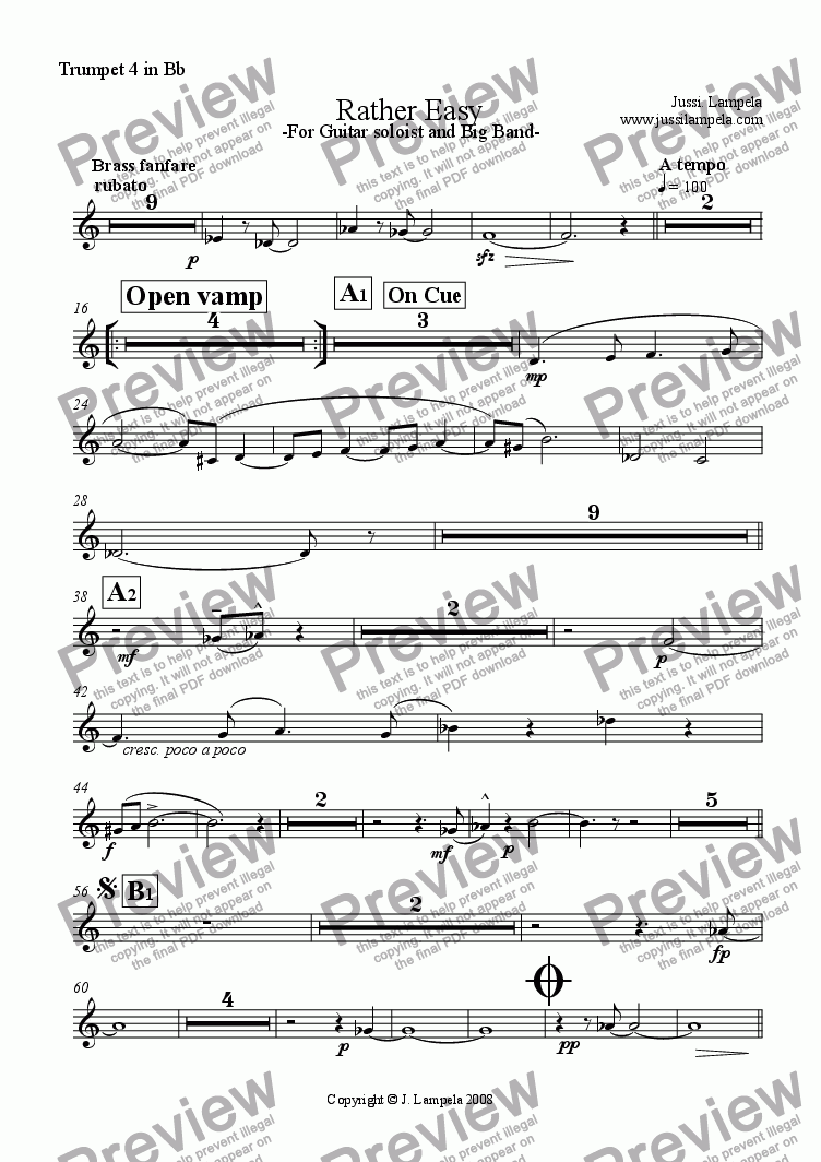 page one of the Trumpet 4 in Bb part from Rather Easy