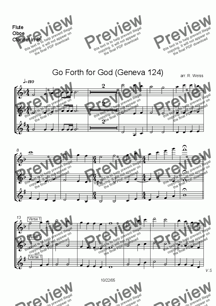page one of the Flute, Oboe, Clarinet in B^b part from Go Forth for God (Geneva 124) for octet