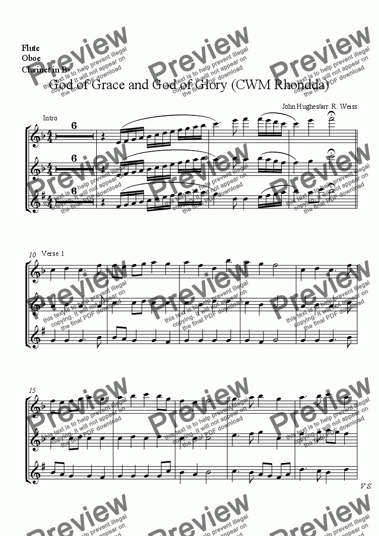 page one of the Flute, Oboe, Clarinet in B^b part from CWM Rhondda (God of Grace) for Octet